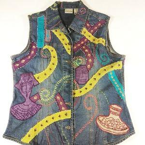 Chico's Alicia Denim Boho Embellished Vest SZ L
